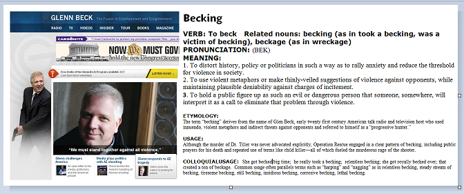 Glen Beck with gun, Becking definition