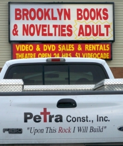 Christian truck at XXX Bookstore
