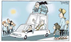 Nun in  doghouse on car or popemobile