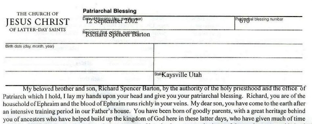 Mormon Patriarchal Blessing