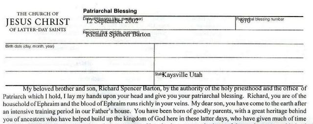 Mormon Patriarchal Blessing