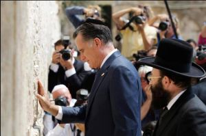 Romney in Yarmulka at Wailing Wall