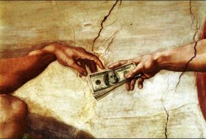 Money and hand of God