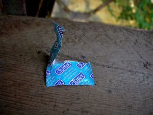opened condom pack